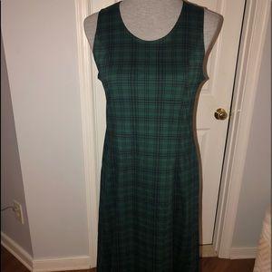 Green Plaid Lands End Cotton Dress